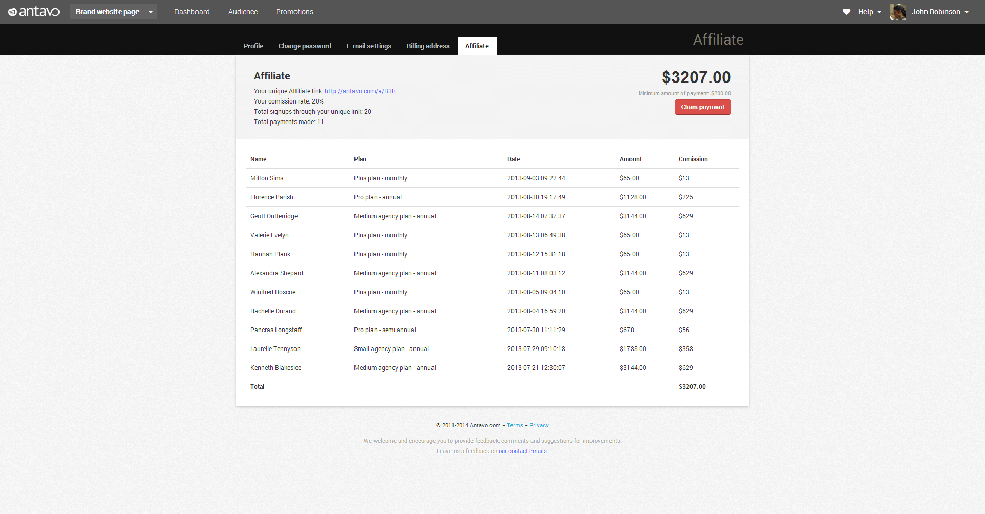 Affiliate page screenshot